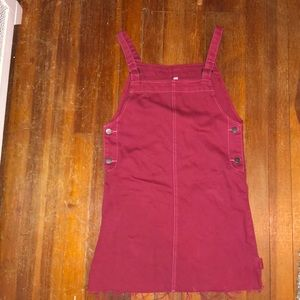 Overall dress dark red